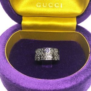 New Gucci Black Diamond 18k Gold Ring Size 6